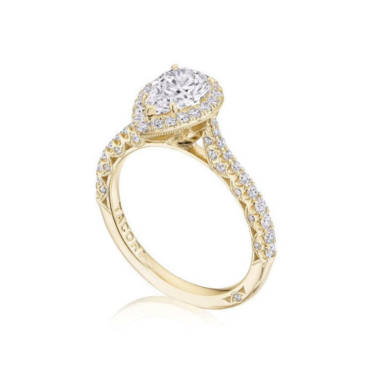 Tacori Petite Crescent 18K Yellow Gold Pear Shape Center Engagement Ring HT2571PS9X6Y