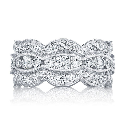 Tacori 18K White Gold 1/2 Way Diamond Wedding Band HT2616B12W
