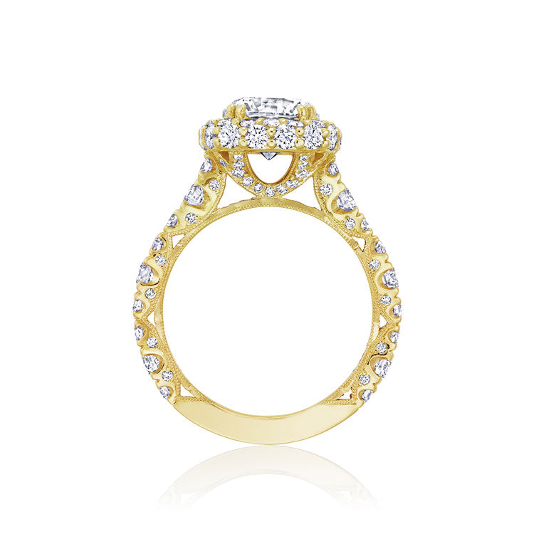 Tacori RoyalT 18K Yellow Gold Cushion Cut Engagement Ring HT2653CU9Y