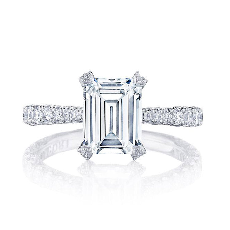 Tacori RoyalT Platinum Emerald Cut Diamond Engagement Ring HT2663EC85X65