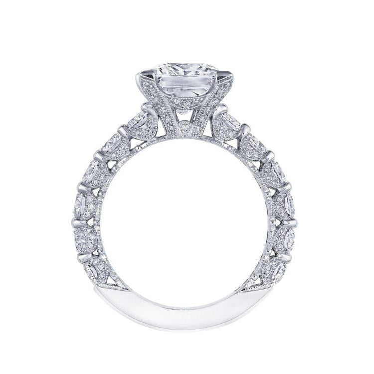 Tacori RoyalT 18K White Gold Princess Center Diamond Engagement Ring HT2664PR7W