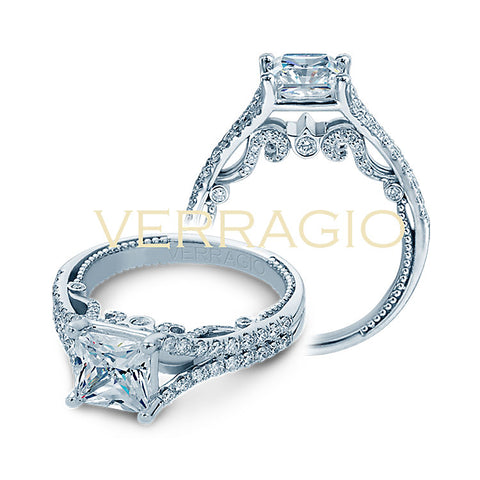 Verragio 18K White Gold Princess Center Engagement Ring INSIGNIA-7063PL