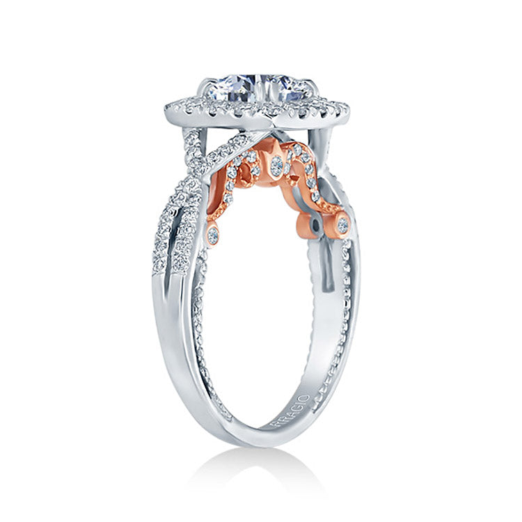 Verragio 18K White & Rose Gold Cushion Engagement Ring INSIGNIA-7086CU-TT