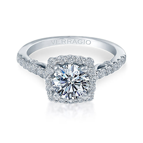 Verragio 18K White Gold Cushion Halo Diamond Engagement Ring INSIGNIA-7047