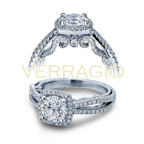 Verragio 18K White Gold Cushion Halo Engagement Ring INSIGNIA-7069CU