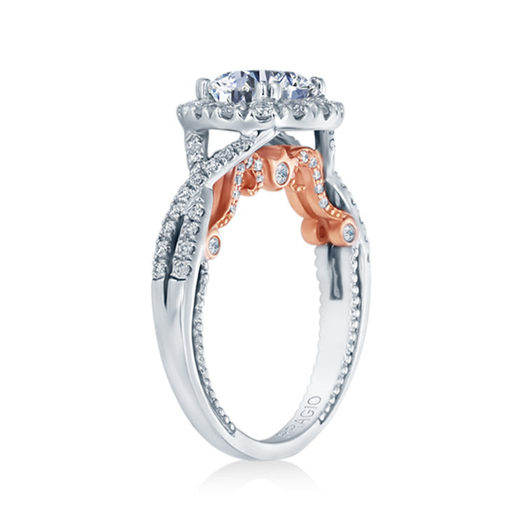 Verragio 14K White & Rose Gold Twisted Diamond Band Engagement Ring INSIGNIA-7086R-TT