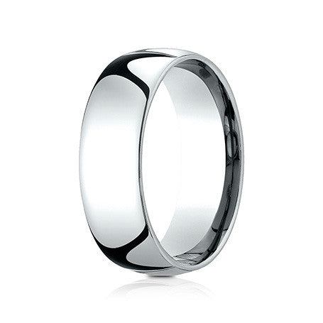 Benchmark Men's 14K White Gold 7MM Comfort-fit Domed Wedding Band LCF170W