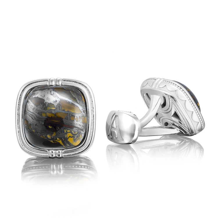 Tacori Cushion Cabochon Cuff Links featuring Tiger Iron MCL10039-B1