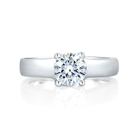 A.JAFFE Classic 18K White Gold Solitaire Engagement Ring ME1280 / 100