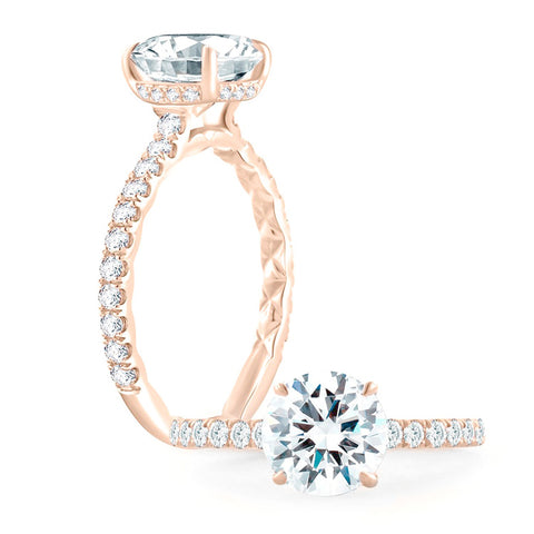 A.JAFFE 18K Rose Gold Diamond Engagement Ring ME1865Q/143