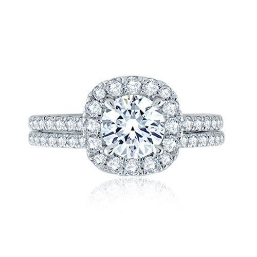 A.JAFFE Round Center with Cushion Halo Engagement Ring with Belted Gallery Detail ME2202Q/157