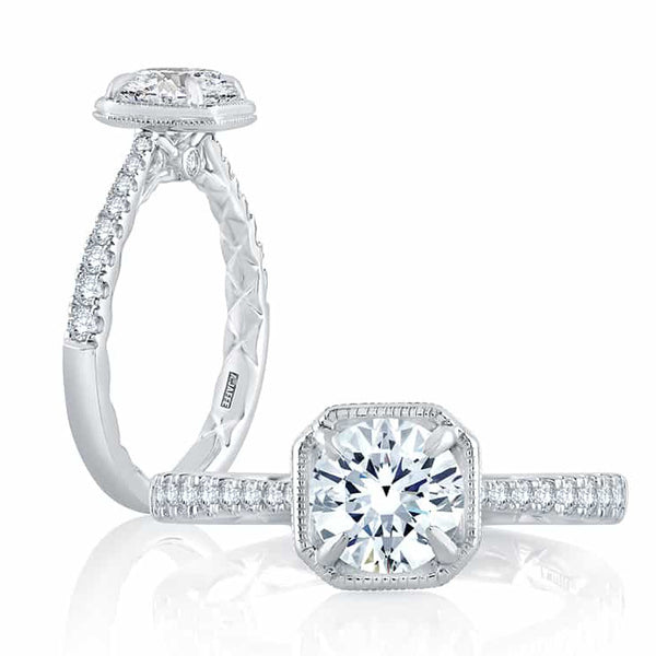 A.JAFFE ART DECO 18K White Gold Diamond Engagement Ring ME2261Q/124