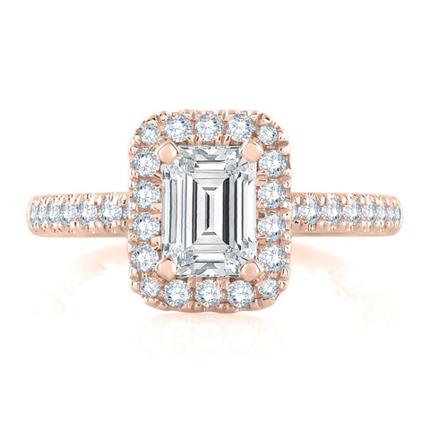 A.JAFFE 18K Rose Gold Emerald Cut Pirouette Engagement Ring ME2265Q/141
