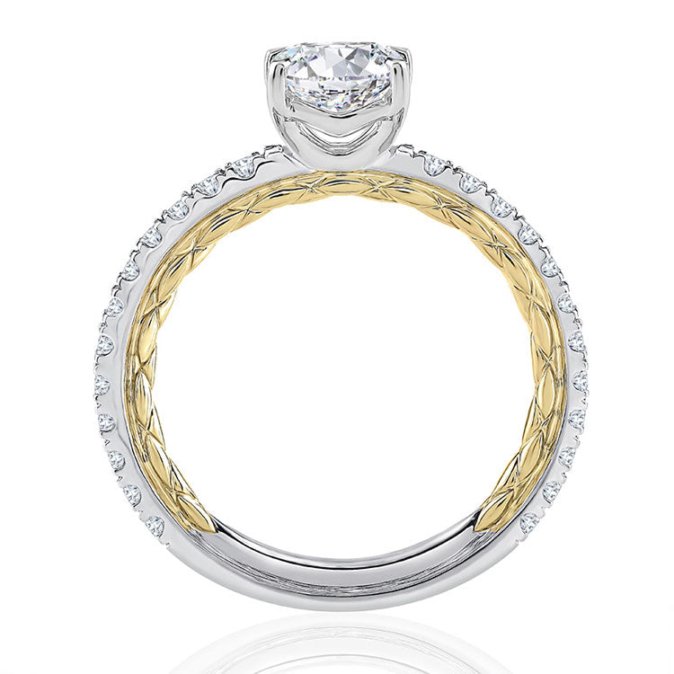 A.JAFFE Classic Two Tone Round Cut Diamond Engagement Ring MECRD2333Q/192