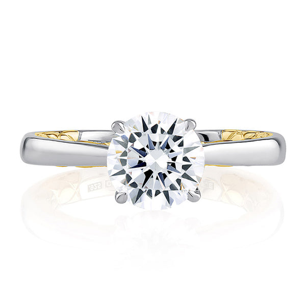 A.JAFFE Sophisticated Two Tone Round Cut Diamond Engagement Ring MECRD2336Q/150