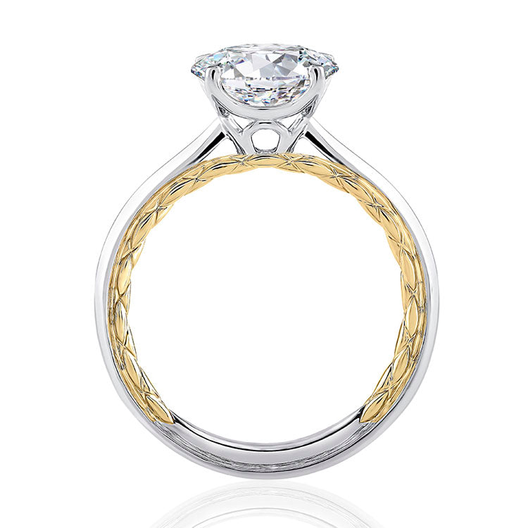 A.JAFFE Two Tone Round Cut Diamond Engagement Ring MECRD2337Q/150
