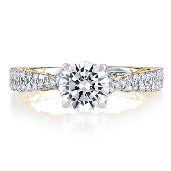 A.JAFFE Split Shank Two Tone Round Cut Diamond Engagement Ring MECRD2353Q/127