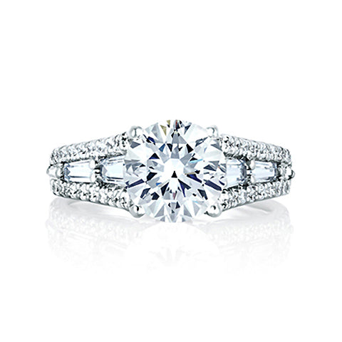 A.JAFFE Round Engagement Ring with Baguettes at Sides MES154 / 122
