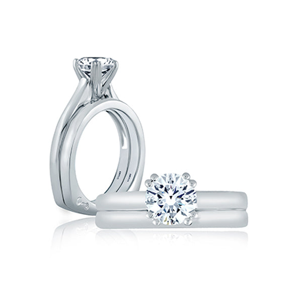 A.JAFFE Classic Double Prong Solitaire Engagement Ring MES166