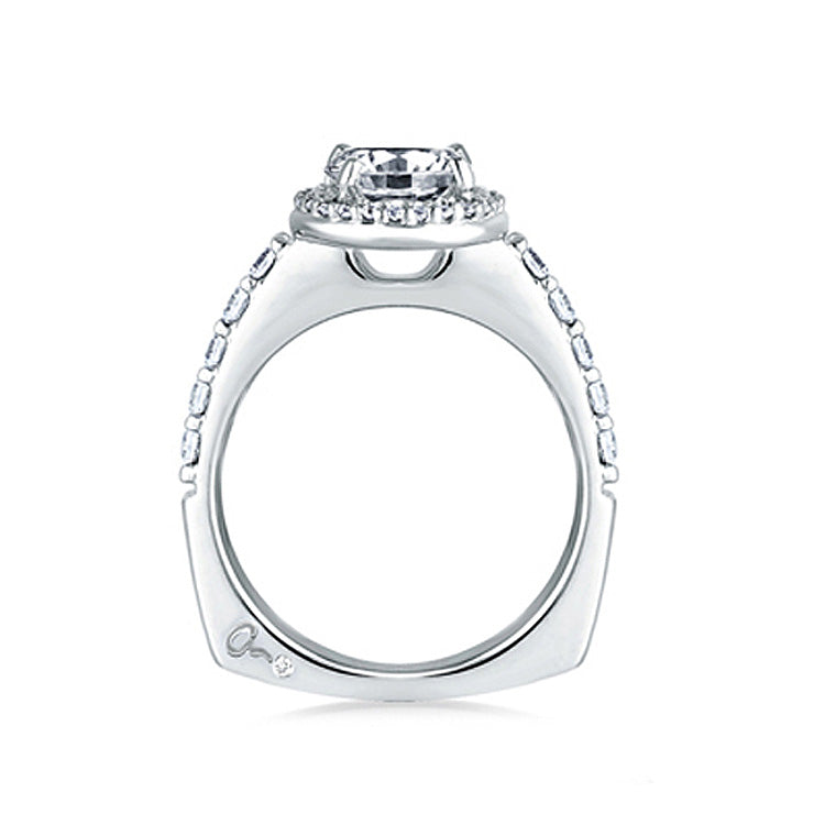 A.JAFFE 18K White Gold Halo Set Shared Prong Engagement Ring MES168/26