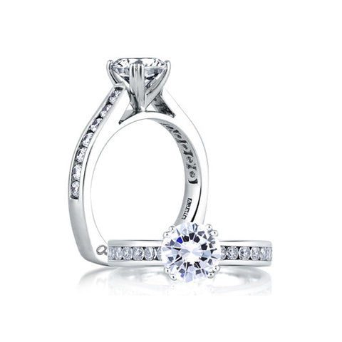 A.JAFFE Classic Channel Set Cathedral Engagement Ring MES174 / 49