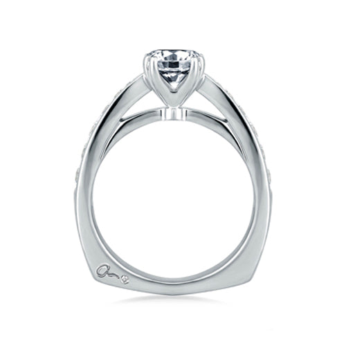 A.JAFFE Classic Pinched Shank Cathedral Engagement Ring MES233 / 52