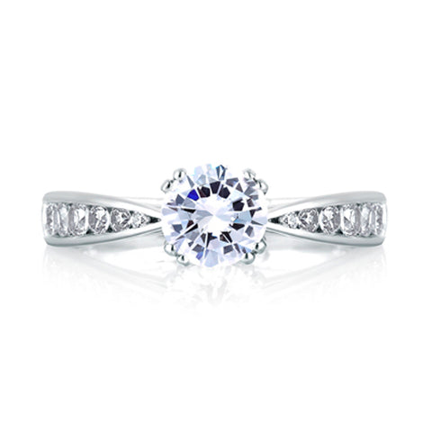 A.JAFFE Classic Pinched Shank Cathedral Engagement Ring MES233/52