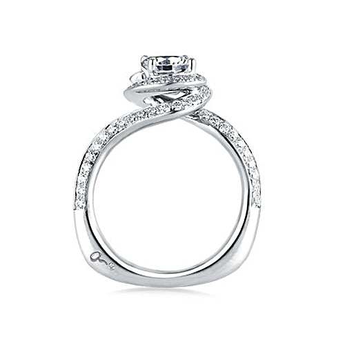 A.JAFFE 18K White Gold Signature Spiral Halo Engagement Ring MES322 / 125