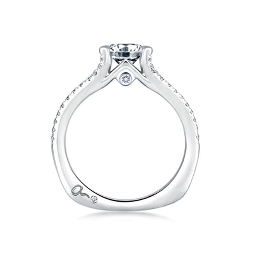 A.JAFFE 18K White Gold Delicate Split Shank Engagement Ring MES333/110