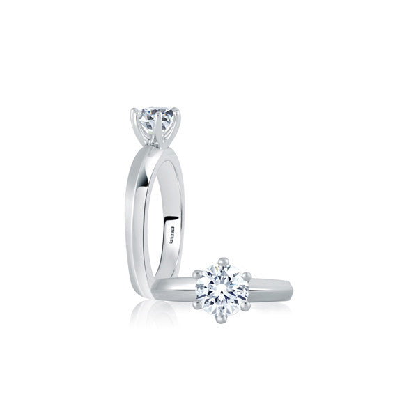 A.JAFFE 18K White Gold Six Prong Solitaire Engagement Ring MES391/100