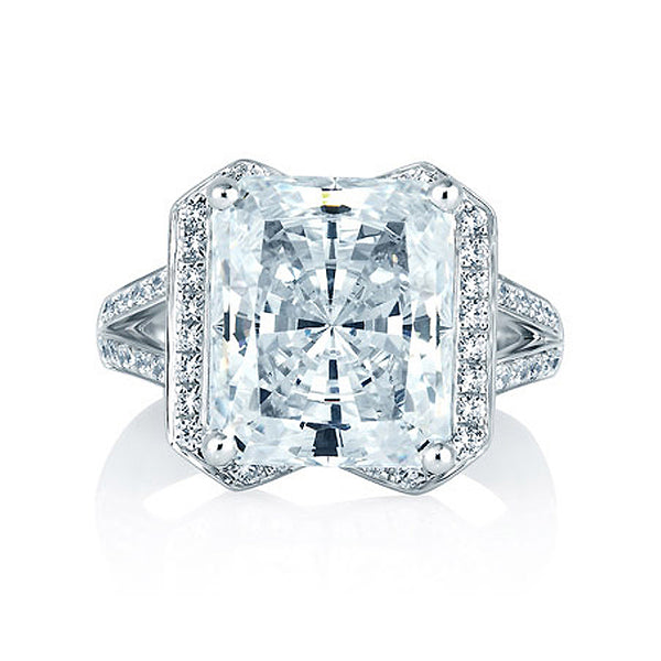 A.JAFFE Radiant Cut Halo Set Engagement Ring MES403/552
