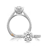 A.JAFFE 18K White Gold Round Center Diamond Engagement Ring MES488/137