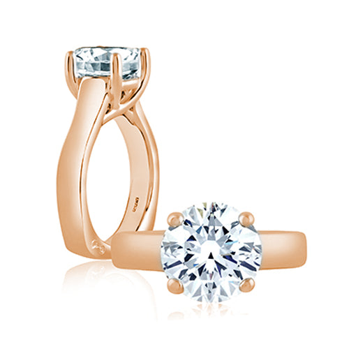 A.JAFFE Classic Trellis 18K Rose Gold Solitaire Engagement Ring MES515/200