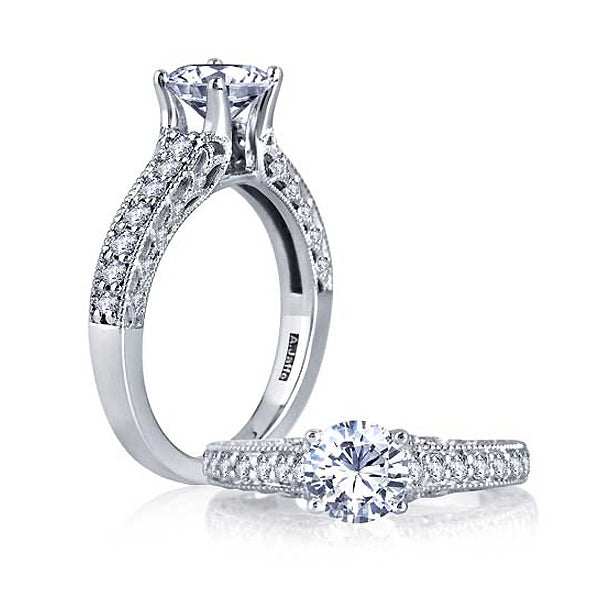 A.JAFFE Round Diamond Filigree Engagement Ring MES534 / 138