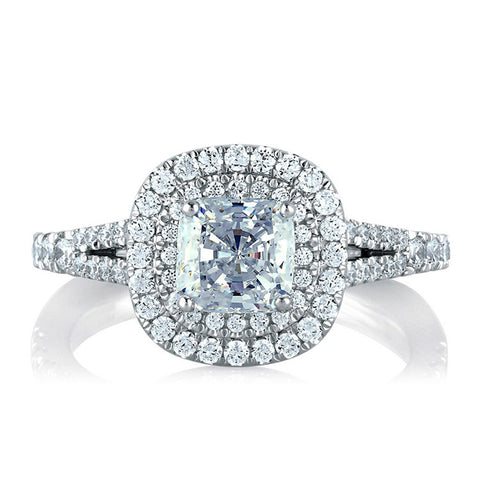 A.JAFFE Classic Double Halo Cushion Engagement Ring MES574/156