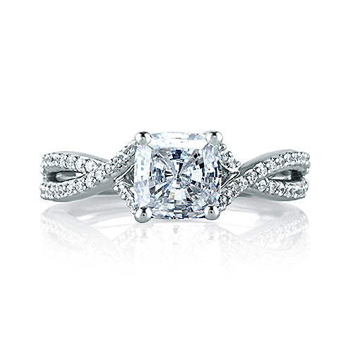 A.JAFFE Criss Crossover Cushion Cut Engagement Ring MES575 / 170