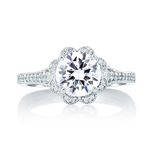 A.JAFFE Platinum Deco Floral Halo Engagement Ring MES645/169