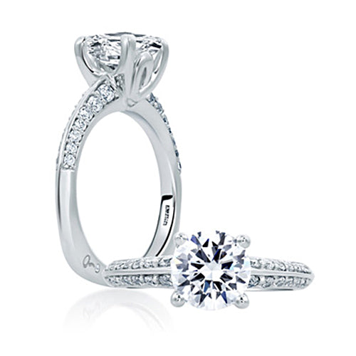A.JAFFE Classic Round Diamond Center Solitaire Engagement Ring MES669