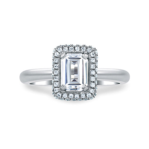 A.JAFFE Platinum Emerald Cut Delicate Pave Bridal Engagement Ring MES673