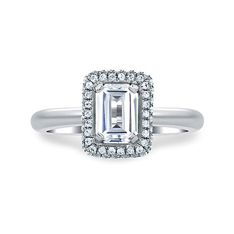 A.JAFFE 14K White Gold Emerald Cut Delicate Pave Bridal Engagement Ring MES673