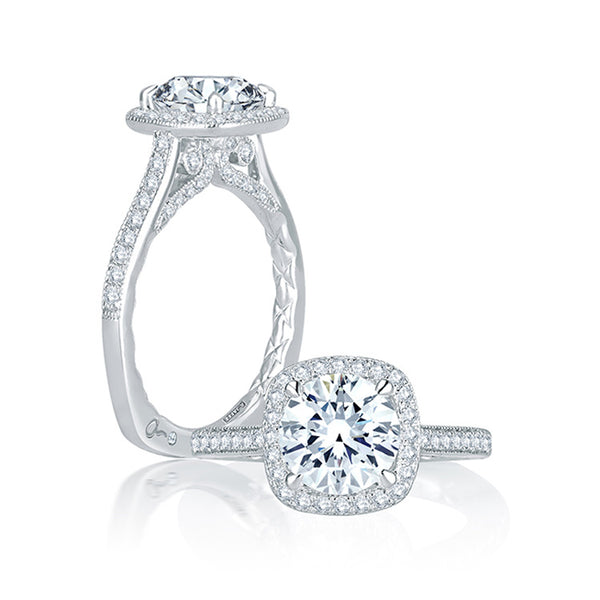 A.JAFFE Intricate Channel Set with Milgrain Detail Cushion Halo Quilted Engagement Ring MES754Q/191