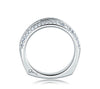 A.JAFFE Classic 18K White Gold Three Row Diamond Signature Band MRS235/59