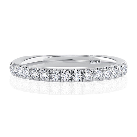 A.JAFFE Contemporary 18K White Gold Pavé Diamond Wedding Ring MRSRD2340/40