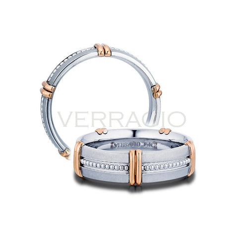 Verragio 14K White & Rose Gold Men's Wedding Band MV-6N16