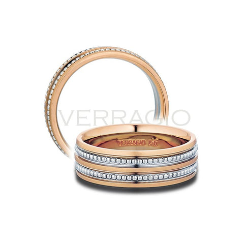 Verragio 14K White U0026 Rose Gold Menu0027s Wedding Band ...