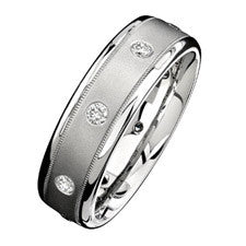 Natalie K 14K White Gold Diamond Men's Band NK13849-W