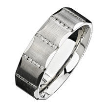 Natalie K 14K White Gold Diamond Men's Band NK13851-W