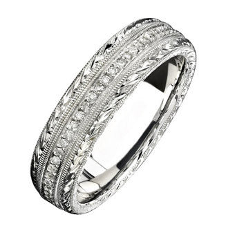 Natalie K 14K White Gold Hand Engraved Diamond Men's Band NK15387-W