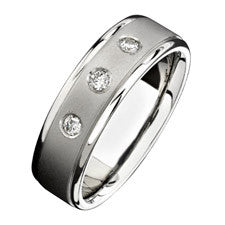 Natalie K 14K White Gold Three Stone Diamond Men's Band NK15388-W
