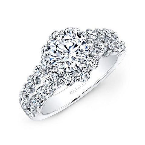 Natalie K 18K White Gold Double Row Shank Engagement Ring NK24384-W